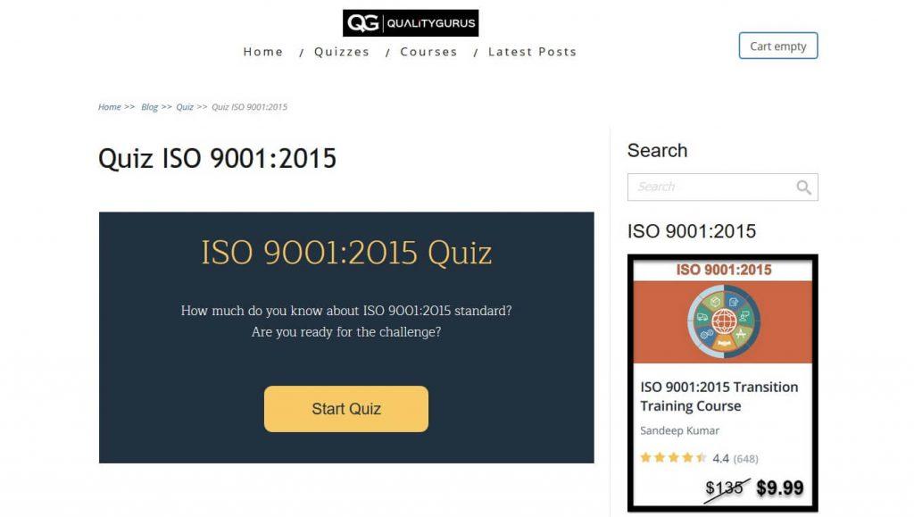 نمونه سوالات و آزمون ایزو 9001:2015